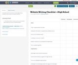 Website Writing Checklist —High School