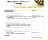 Making Sense of Unusual Findings: Asking Questions, Using Resources