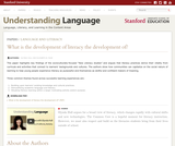 What is the Development of Literacy the Development Of?