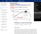 AP Physics 1 review of 1D motion
