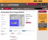 Photovoltaic Solar Energy Systems, Fall 2004