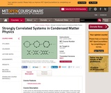 Strongly Correlated Systems in Condensed Matter Physics, Fall 2003