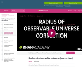 Cosmology and Astronomy: (Correction) Radius of Observable Universe