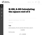 8-NS Calculating the Square Root of 2