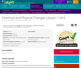 Chemical and Physical Changes Lesson 1 of 4