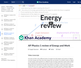 AP Physics 1 review of Energy and Work