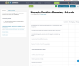 Biography Checklist—Elementary - 3rd grade