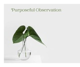 Purposeful Observation