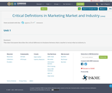 Critical Definitions in Marketing  Market and Industry