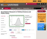Quantitative Research in Political Science and Public Policy, Spring 2004