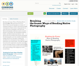 Breaking the frame: Ways of Reading Native Photography