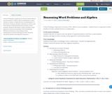 Reasoning Word Problems and Algebra