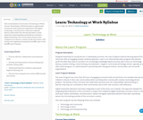 Learn: Technology at Work Syllabus