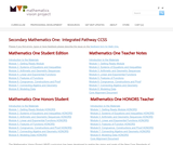 Secondary Mathematics One:  Integrated Pathway CCSS
