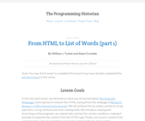The Programming Historian 2: From HTML to List of Words (part 1)