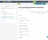 Persuasive Writing Checklist—Elementary