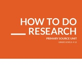 How To Do Research Primary Source Unit