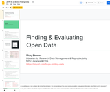Finding & Evaluating Open Data