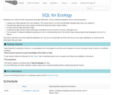 Data Management with SQL for Ecologists