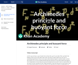 Archimedes principle and buoyant force