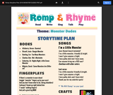 Romp & Rhyme Storytime Lesson Plan: Monster Dudes