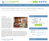 Rural Energy in China: How Can Engineers Make a Difference?