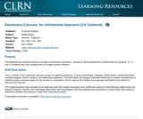 Elementary Calculus: An Infinitesimal Approach (CA Textbook)