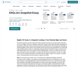 ENGL101 Snapshot: Looking At Your Potential Major and Career