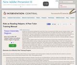 Kids as Reading Helpers: A Peer Tutor Training Manual