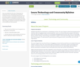 Learn: Technology and Community Syllabus