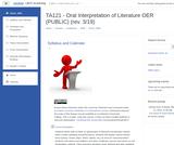 Oral Interpretation of Literature