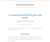 The Programming Historian 2: Creating and Viewing HTML Files with Python