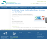 Residential Energy Auditing Certificate Overview and Curriculum, Part 1