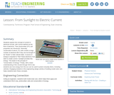 From Sunlight to Electric Current