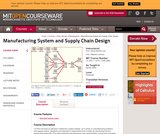Manufacturing System and Supply Chain Design, Spring 2005
