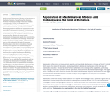Application of Mathematical Models and Techniques in the field of Statistics.