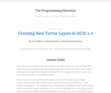 The Programming Historian 2: Creating New Vector Layers in QGIS 2.0