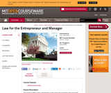 Law for the Entrepreneur and Manager, Spring 2003