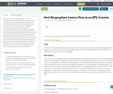 Oral Biographies Lesson Plan in an EFL Context