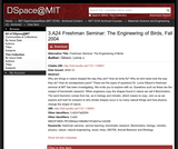 Freshman Seminar: The Engineering of Birds, Fall 2004