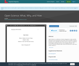 Open Science: What, Why, and How