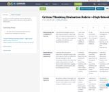 Critical Thinking Evaluation Rubric —High School