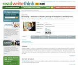 Developing a Definition of Reading through Investigation in Middle School