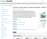 BC Reads: Adult Literacy Fundamental English Reader 1