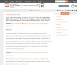 Are We Wasting a Good Crisis? The Availability of Psychological Research Data after the Storm