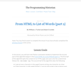 The Programming Historian 2: From HTML to List of Words (part 2)