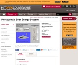 Photovoltaic Solar Energy Systems, Fall 2004