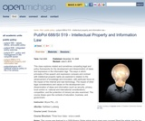 PubPol 688/SI 519 - Intellectual Property and Information Law