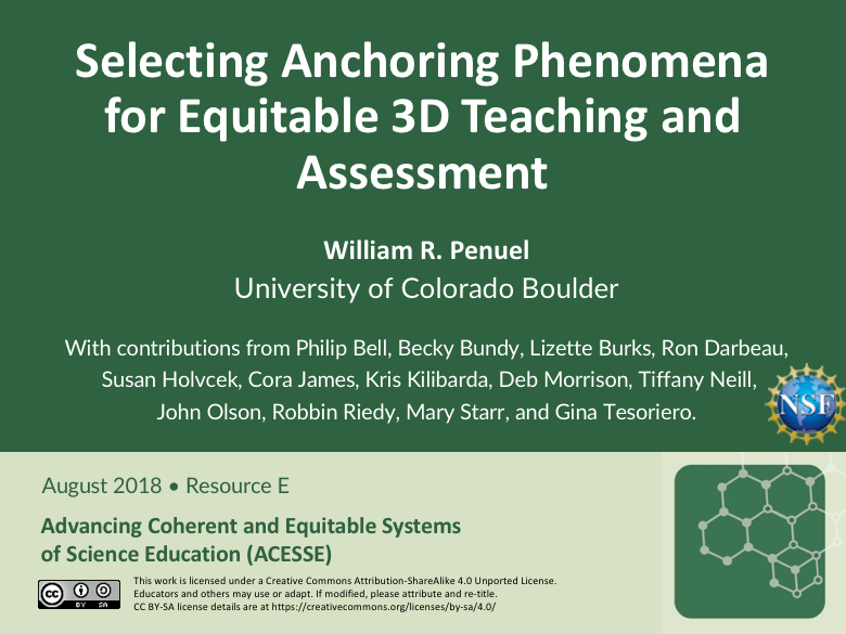 ACESSE Resource E: Selecting Anchoring Phenomena for Equitable 3D Teaching and Assessment