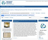 Native Americans: Interactions at the Time of Settlement